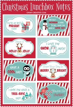 Printable Christmas Lunchbox Notes to build the excitement of Santa's arrival and winter break! | OHMY-CREATIVE.COM