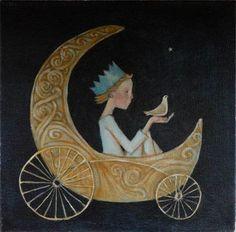 Illustration by Lucy Campbell Art And Illustration, Art Fantaisiste, Moon Magic, Moon Art, Whimsical Art, Stars And Moon, Bird Art, Fantasy Art, Fairy Tales