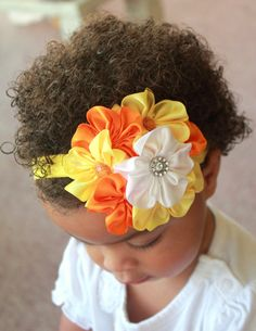 Candy Corn Baby Headband Photo Prop - Satin Cluster Headband - Thanksgiving - Fall Headband - Halloween - Infant, Toddler, Baby, Newborn