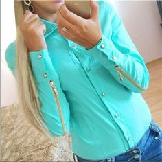 New fashion shirt women zipper with long sleeves women's sheer blouses blusas estilosas