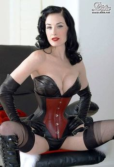 ☺ Dita Von Teese (born Heather Renée is an American burlesque dancer, model, costume designer, entrepreneur and occasional actress. She is thought to have helped repopularize burlesque performance Dita Von Teese, Lace Tights, Leather Corset, Leather Lingerie, Leather Gloves, Costume, Models, Sensual, Burlesque