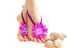 Crochet Barefoot sandal, Barefoot Sandles, Flower Barefoot Sandal, Purple, Sexy, Nude shoes, Foot jewelry, Beach, Lolita, Belly dance, Yoga