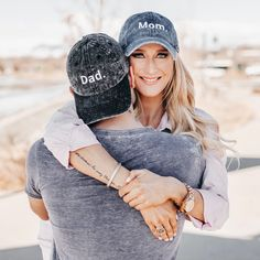 Happy in matching Mom&Dad hats Mom Dad Baby, Mom And Dad, Beach Pregnancy Announcement, August Baby, July 10, Dad Caps, Family Goals, Mini Me, Baby Hats