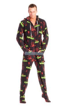 7e4c7a6635 Zombies Themed Footed Hooded Adult Pajamas. These comfortable polar fleece  hoodies will keep you warm