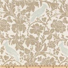 Premier Prints Barber Taupe/Robin - Home Decor Fabric .5 yard. $6.00, via Etsy.