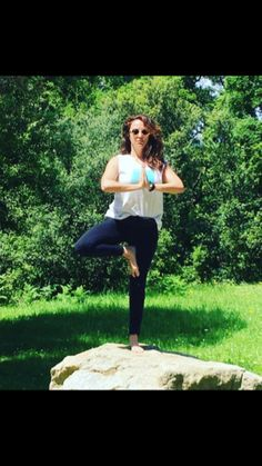 Vrksasana can be challenging if you practice on top of non flat rock. Improve your sense of #balance #yoga