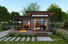 10 Modern Compact Houses for a Small Family With Floor Plans Modern Bungalow House Design, Modern Bungalow Exterior, Modern Small House Design, Small Bungalow, Small House Exteriors, Small Modern Home, Simple House Design, House Front Design, Style At Home