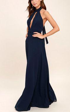 First Comes Love Navy Blue Maxi Dress via @bestmaxidress
