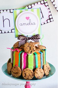 Love the colors & cake idea for a milk & cookies baby shower theme!