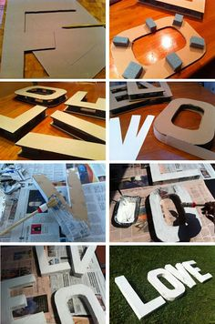 14 creative ideas to decorate with letters made with cardboard – DIY,Health and fitness Cardboard Letters, 3d Letters, Diy Cardboard, Large Letters, Deco Champetre, Diy And Crafts, Paper Crafts, Creation Deco, Ideias Diy