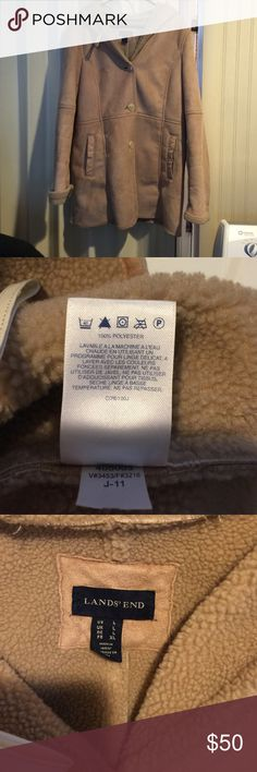 """Lands end faux sheepskin jacket Very warm hooded jacket. 31 """" from shoulder to bottom. Great condition Lands' End Jackets & Coats"""