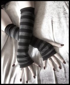 Dusk And Her Embrace Arm Warmers - Dark Charcoal Grey & Black Stripes - Bellydance Chic Classic Bohemian Yoga Cycling Emo Vampire Light Gothic Outfits, Emo Outfits, Cute Outfits, Striped Gloves, Grey Gloves, Lace Corset, Corset Dresses, Coffee Design, Moda Emo