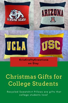 Recycled college sweatshirt pillows make great gifts that college students love! Pre-owned college sweatshirts are up-cycled into pillows. They are great for decorating dorm rooms. College sports fans love recycled sweatshirt pillow featuring thier favorite college or university. College Student Gifts, College Students, Etsy Christmas, Christmas Gifts, College Sweatshirts, Gifts For Sports Fans, Dorm Rooms, Dorm Decorations, Fathers Day Gifts