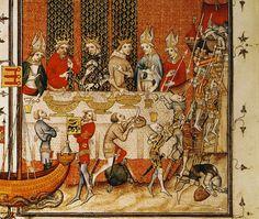Paris.Grande Chroniques de France de Charles V.Banquet scene w play.1375-1380, detail