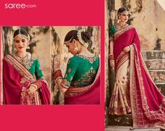 Immerse yourself in silken grandeur of intricately woven jacquard… Crafted in classy maroon and beige in trendy half and half styling, this majestic and elegant embroidered wedding saree will always remain a cherished one in your wardrobe. Paired with a contrasting leaf green blouse, this classy saree is as suitable for your wedding trousseau as it is for your sister's reception. You can even gift it to your mommy dearest!