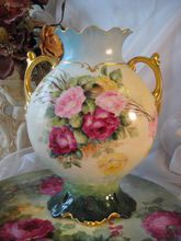 GORGEOUS TEA ROSES LIMOGES FRANCE VASE Beautiful Antique French Hand Painted Porcelain Roses Vase ~ Reticulated Base ~ Roman Gold Handles ~ Vintage Victorian China Painting Jean Pouyat JP L Circa 1900