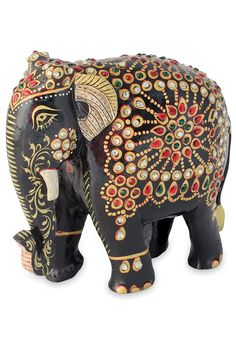Wood sculpture, 'Majestic Indian Elephant' - Bejeweled Black Elephant Hand Crafted Sculpture from India Elephant Walk, Elephant Parade, Wooden Elephant, Elephant Gifts, Elephant Theme, Grey Elephant, Elephant Sculpture, Wood Sculpture, Hindu Art