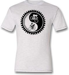 Bicycle T-shirt Cycling Yin-Yang Mountain Bike Road Bike Fixed Gear White and Black Cotton Tee. $23.95, via Etsy.