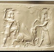 Enkidu and Gilgamesh slaying the Bull of Heaven. #mesopotamia