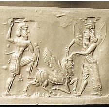 Sumerian heroes Enkidu and Gilgamesh/Heracles slaying the Bull of Heaven.