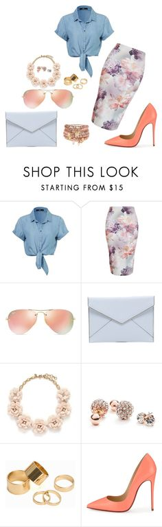 """""""Untitled #332"""" by chilosa3325 on Polyvore featuring Ray-Ban, Rebecca Minkoff, J.Crew, GUESS, Pieces, Christian Louboutin, Accessorize, women's clothing, women and female"""