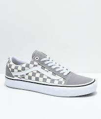 acf5e55eaa2 Vans Old Skool Pro Grey Checker   White Skate Shoes