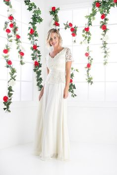 Lace Bodiced Chiffon Skirt Mother of the Bride Dress Short Sleeve