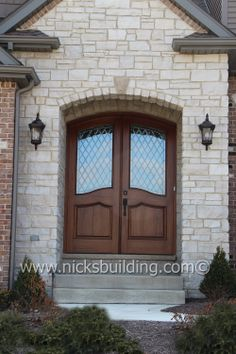 Arched Top Double doors stained in a Golden Oak Hue.... bought at www.nicksbuilding.com #mansiondoors #castledoors  #archedtopwooddoors Castle Doors, Doors Online, Golden Oak, Double Doors, Wooden Doors, Interior And Exterior, Hue, Solid Wood, Garage Doors