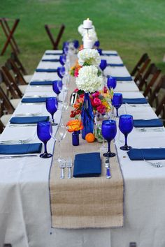 Cobalt Blue Water Goblets and White Linens