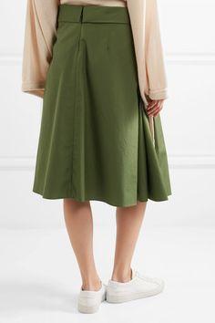 Jil Sander - Pleated Cotton-poplin Midi Skirt - Army green - FR34