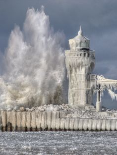 Captured shot of a Lighthouse in Michigan. Weather can change on a dime on Lake Michigan!