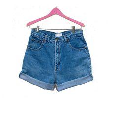 High Waist Jean Shorts DD Sloane Sport, Blue Denim Hipster Cut Offs Roll Up Shorts W 29 30