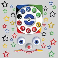 Smiley Toys Dial Phone  Posters #posters #homedecor #wallpaper #bedroom #retro #cool #funny #geeky #girly #girlie #kids #youth #cartoons #cute #baby #telephone #phone #toys #vintage #dial #dialphone #children #birthday #phonebox