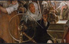 LAS HILANDERAS (detalle ).Esta es una de las obras maestras deVELAZQUEZ: unas mujeres trabajando en un telar. Esto es un ejemplo de cómo en ocasiones el tiempo hace olvidar el significado original de un cuadro: documentos del siglo XVII describen el tema del cuadro como la historia de Aracne y la diosa Atenea. Ambas aparecen en el fondo de la escena,junto a otras mujeres, ladiosa con un casco y Aracne frente a ella. Aracnese había atrevidoa desafiar a Atenea,diciendo que tejía mejor…