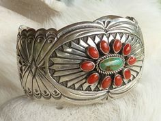 Sterling Silver, Turquoise and Bamboo Coral Native American Cuff Bracelet by Navajo Artist Rew Dineh – Handmade in the state of New Mexico |  $640.00