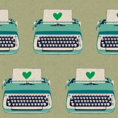 Typewriters neutral, of Ruby Star Shining by Melody Miller for Kokka
