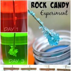 Wow the kids while exploring science with the rock candy experiment. What could be cooler than making your own candy? Toddler Science Experiments, Science For Kids, Science Projects, Preschool Science, Science Ideas, Science Fair, Science Activities, Diy Projects, Rock Candy Experiment