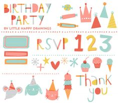 Bright Birthday Invitation Set CLIP ART