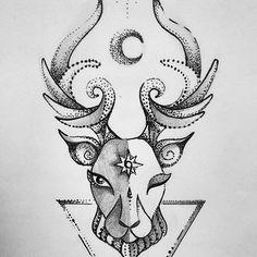 🌞🌝✨  #deer #Sun #moon #spacedeer #dotwork #drawing