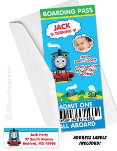 Thomas the train Invitations - @Nancy Machalk - for Davey's next birthday party!