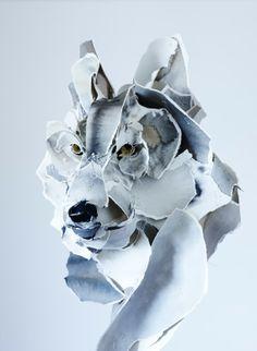 Papier in de herkansing: Paper sculpture, animals Ana-Wili Highfield