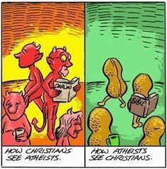 Cómo ven los cristianos a los ateos  Cómo ven los ateos a los cristianos
