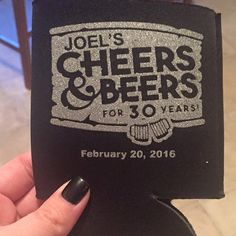 Cheers and Beers for 30 Years- Black and white - Custom Koozies for 30th Birthday - Personalized Can Coolers by Odyssey Custom Designs