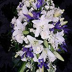 Lily and Iris Casket Spray by Florabella Design