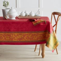 "Villa Jacquard Tablecloth, 70"" X 108"", Red"