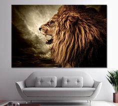 African Lion Lion wall art Wall art Lion canvas print Lion print Lion art Room Decoration Lion wall Decor Lion Home Art by ArtWog Lions Home, New York Canvas, Lion Wall Art, Lion Print, Art Print, Roaring Lion, Oversized Wall Art, Thing 1, Marble Art