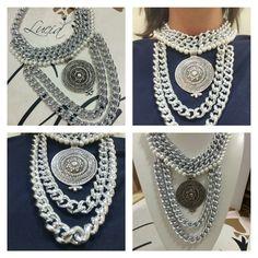 10238ea782be Collar cadena de aluminio con baño plata perlas y colgante de zamak. Lo  podrás encontrar