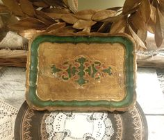 Vintage Italian Green and Gold Gilt Florentine by AloofNewfWhimsy, $32.00