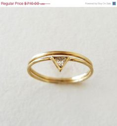 SUMMER SALE Trillion Diamond Wedding Ring Set - 14k Gold