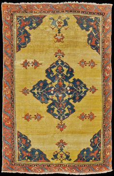 Yellow ground UŞAK rug, with quadrifoil central medallion, ca. early 18th century.  145 x 230 cm.